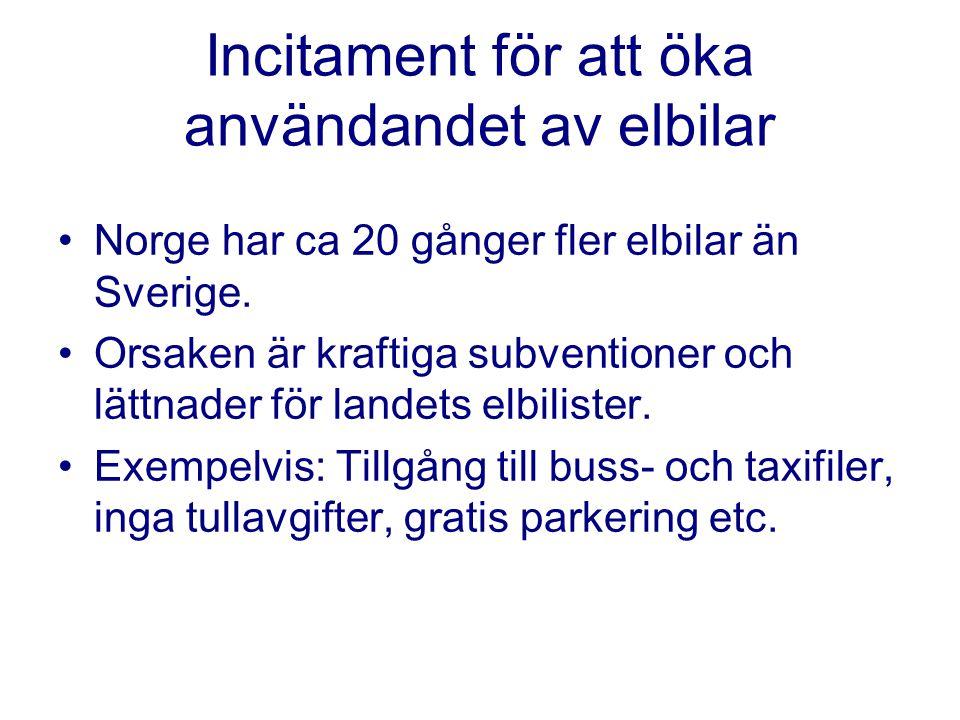 Incitament för att öka användandet av elbilar Norge har ca 20 gånger fler elbilar än Sverige. Orsaken är kraftiga subventioner och lättnader för lande