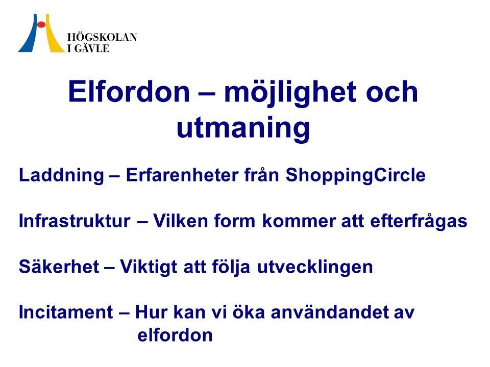 Elfordon – möjlighet och utmaning Laddning – Erfarenheter från ShoppingCircle Infrastruktur – Vilken form kommer att efterfrågas Säkerhet – Viktigt att följa utvecklingen Incitament – Hur kan vi öka användandet av elfordon