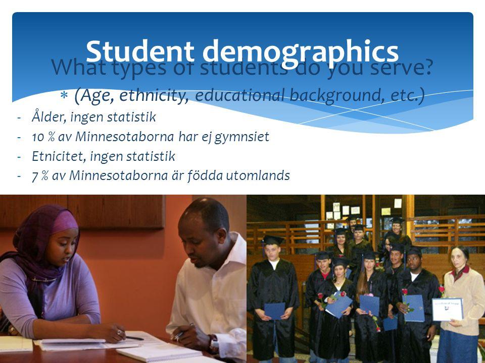 What types of students do you serve?  (Age, ethnicity, educational background, etc.) -Ålder, ingen statistik -10 % av Minnesotaborna har ej gymnsiet