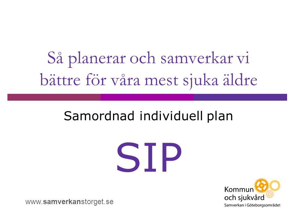 Så planerar och samverkar vi bättre för våra mest sjuka äldre Samordnad individuell plan SIP www.samverkanstorget.se