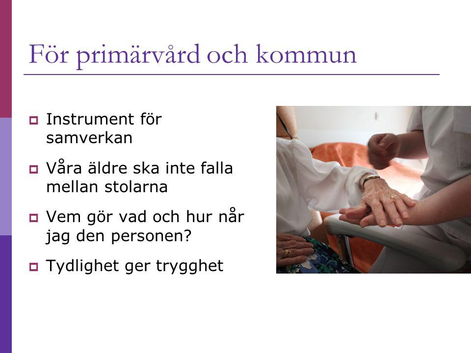För primärvård och kommun  Instrument för samverkan  Våra äldre ska inte falla mellan stolarna  Vem gör vad och hur når jag den personen?  Tydligh