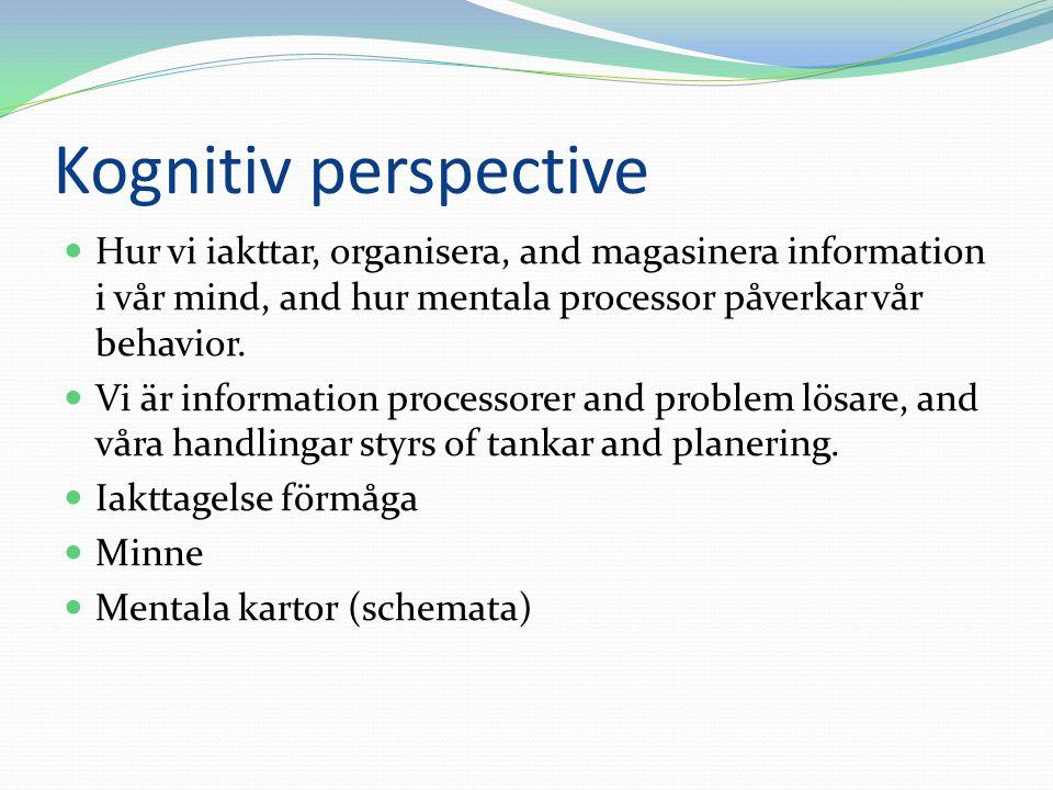 Kognitiv perspective Hur vi iakttar, organisera, and magasinera information i vår mind, and hur mentala processor påverkar vår behavior. Vi är informa