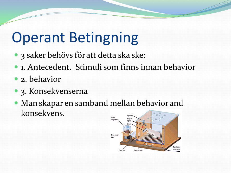 Operant Betingning 3 saker behövs för att detta ska ske: 1. Antecedent. Stimuli som finns innan behavior 2. behavior 3. Konsekvenserna Man skapar en s