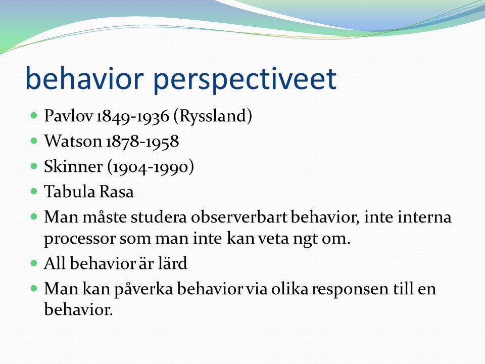 behavior perspectiveet Pavlov 1849-1936 (Ryssland) Watson 1878-1958 Skinner (1904-1990) Tabula Rasa Man måste studera observerbart behavior, inte inte