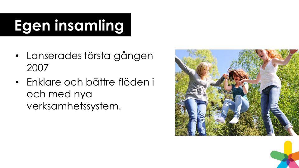 Egen insamling Lanserades första gången 2007 Enklare och bättre flöden i och med nya verksamhetssystem.