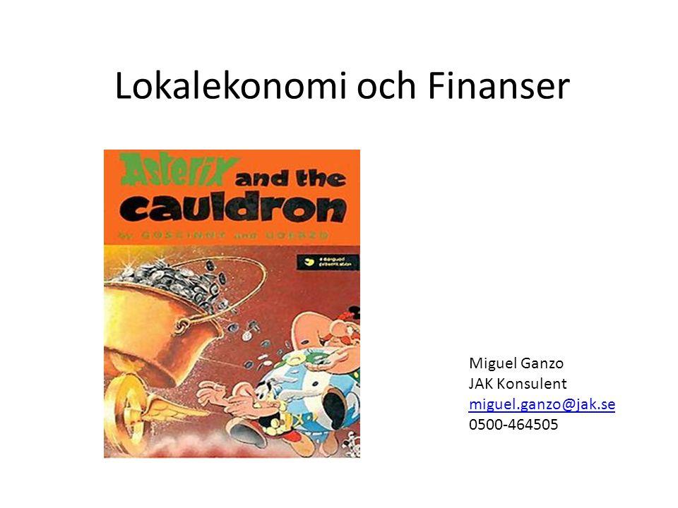 Lokalekonomi och Finanser Miguel Ganzo JAK Konsulent miguel.ganzo@jak.se 0500-464505