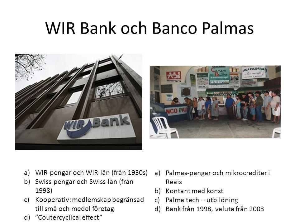 WIR Bank och Banco Palmas a)Palmas-pengar och mikrocrediter i Reais b)Kontant med konst c)Palma tech – utbildning d)Bank från 1998, valuta från 2003 a)WIR-pengar och WIR-lån (från 1930s) b)Swiss-pengar och Swiss-lån (från 1998) c)Kooperativ: medlemskap begränsad till små och medel företag d) Coutercyclical effect
