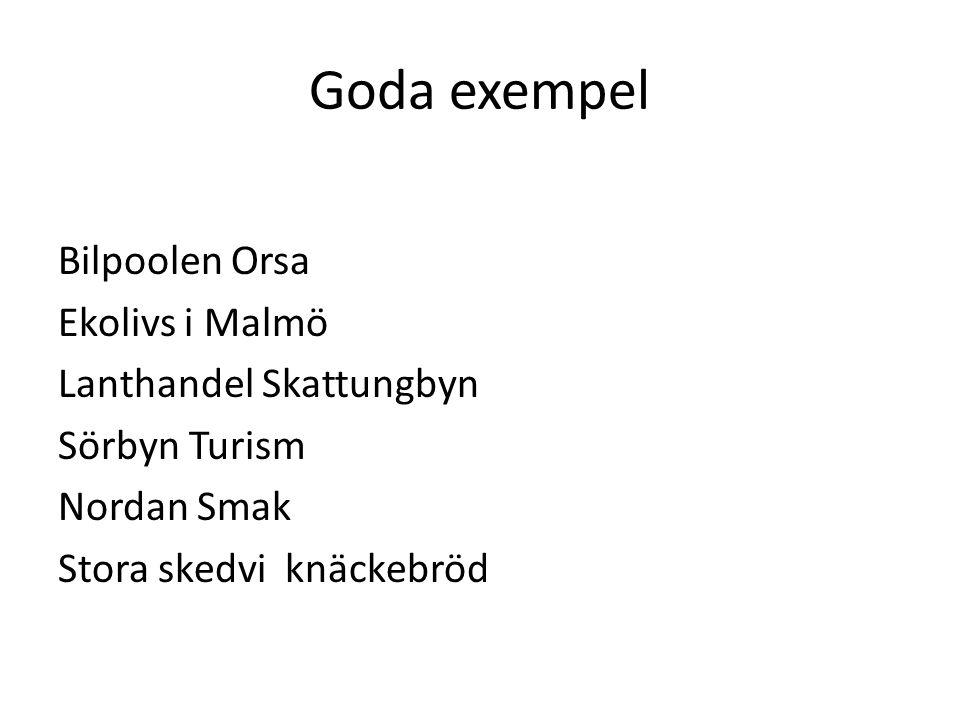 Goda exempel Bilpoolen Orsa Ekolivs i Malmö Lanthandel Skattungbyn Sörbyn Turism Nordan Smak Stora skedvi knäckebröd