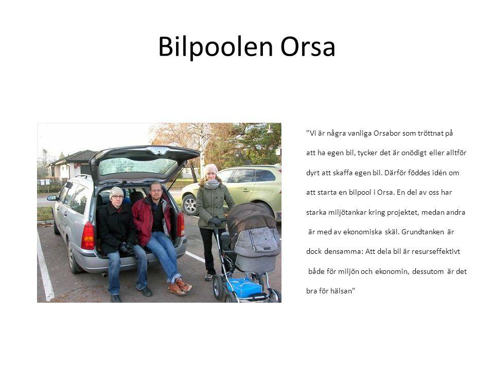 """Bilpoolen Orsa """"Vi är några vanliga Orsabor som tröttnat på att ha egen bil, tycker det är onödigt eller alltför dyrt att skaffa egen bil. Därför född"""