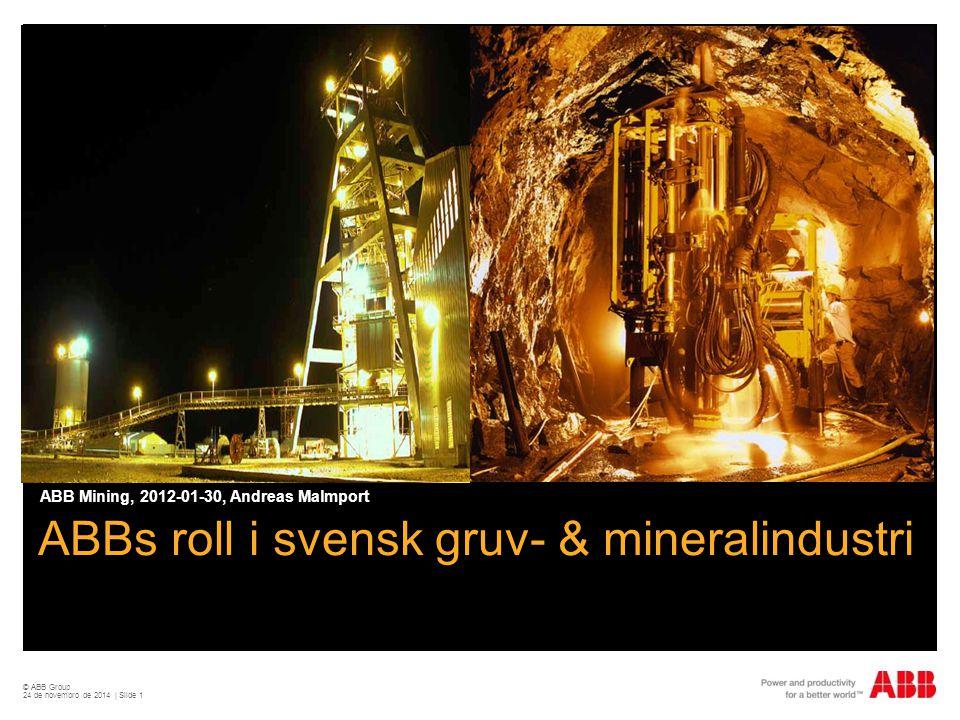 © ABB Group 24 de novembro de 2014 | Slide 1 ABBs roll i svensk gruv- & mineralindustri ABB Mining, 2012-01-30, Andreas Malmport