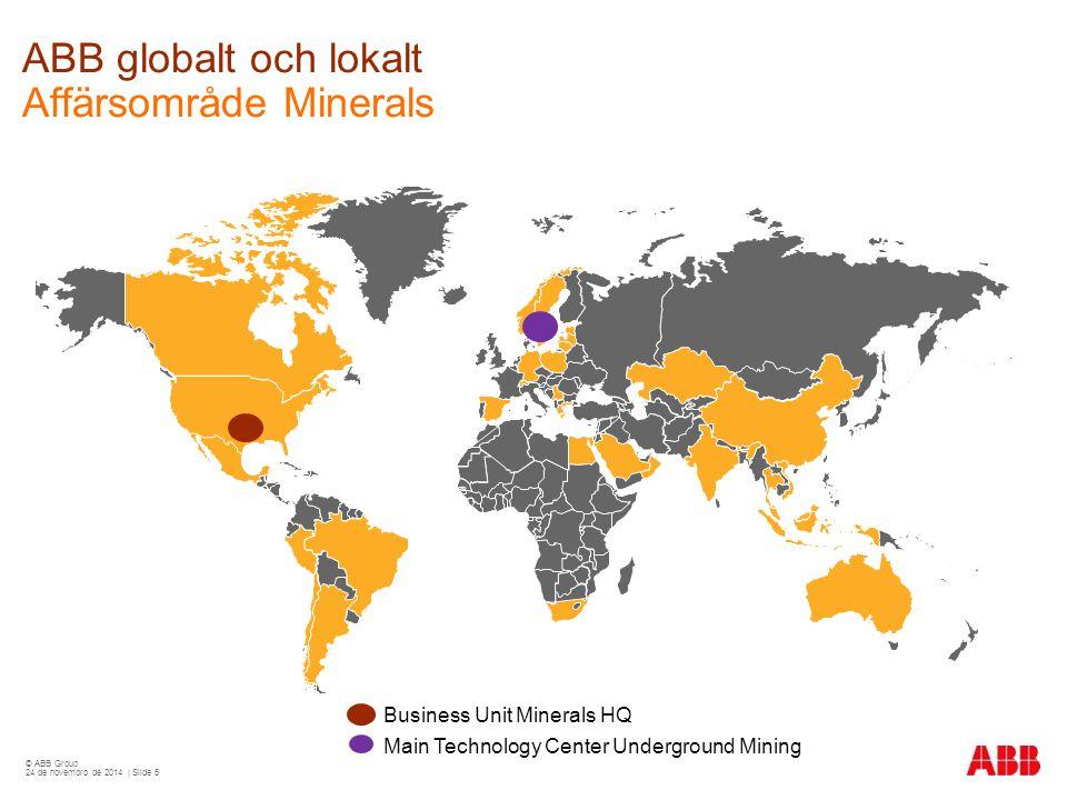 © ABB Group 24 de novembro de 2014 | Slide 5 Business Unit Minerals HQ Main Technology Center Underground Mining ABB globalt och lokalt Affärsområde Minerals
