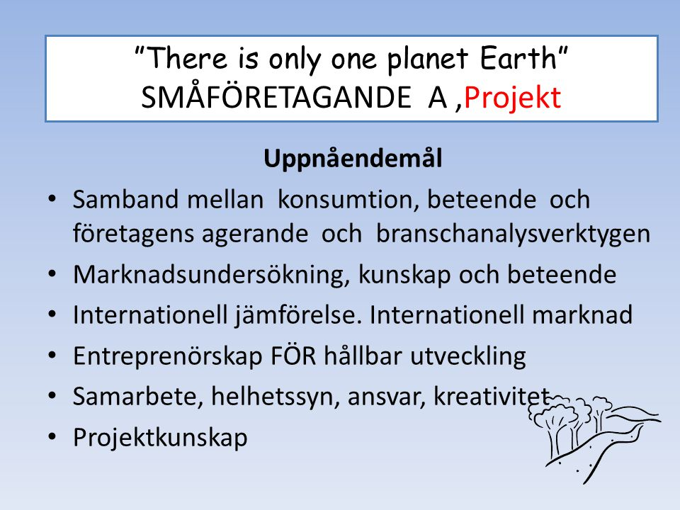 """There is only one planet Earth"" SMÅFÖRETAGANDE A,Projekt Uppnåendemål Samband mellan konsumtion, beteende och företagens agerande och branschanalysve"