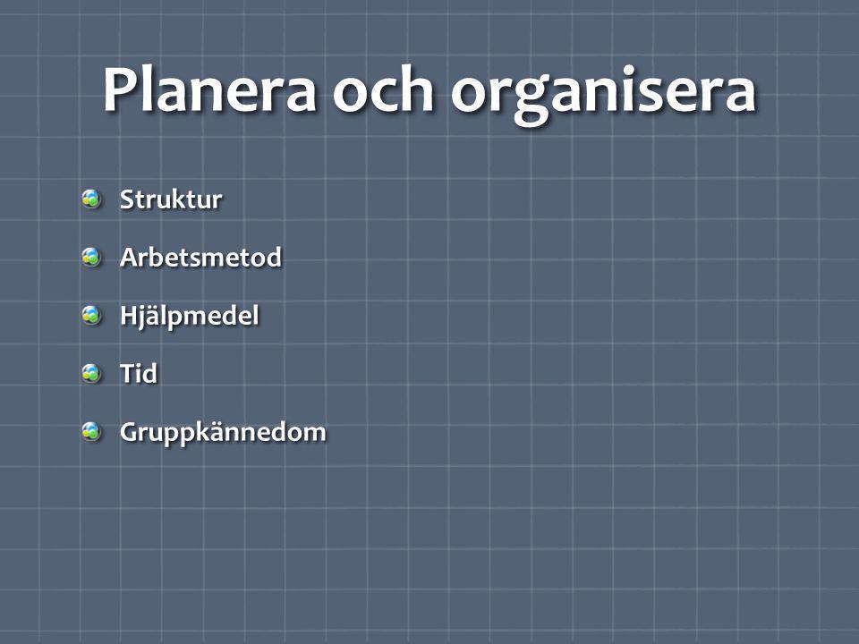 Planera och organisera StrukturArbetsmetodHjälpmedelTidGruppkännedom