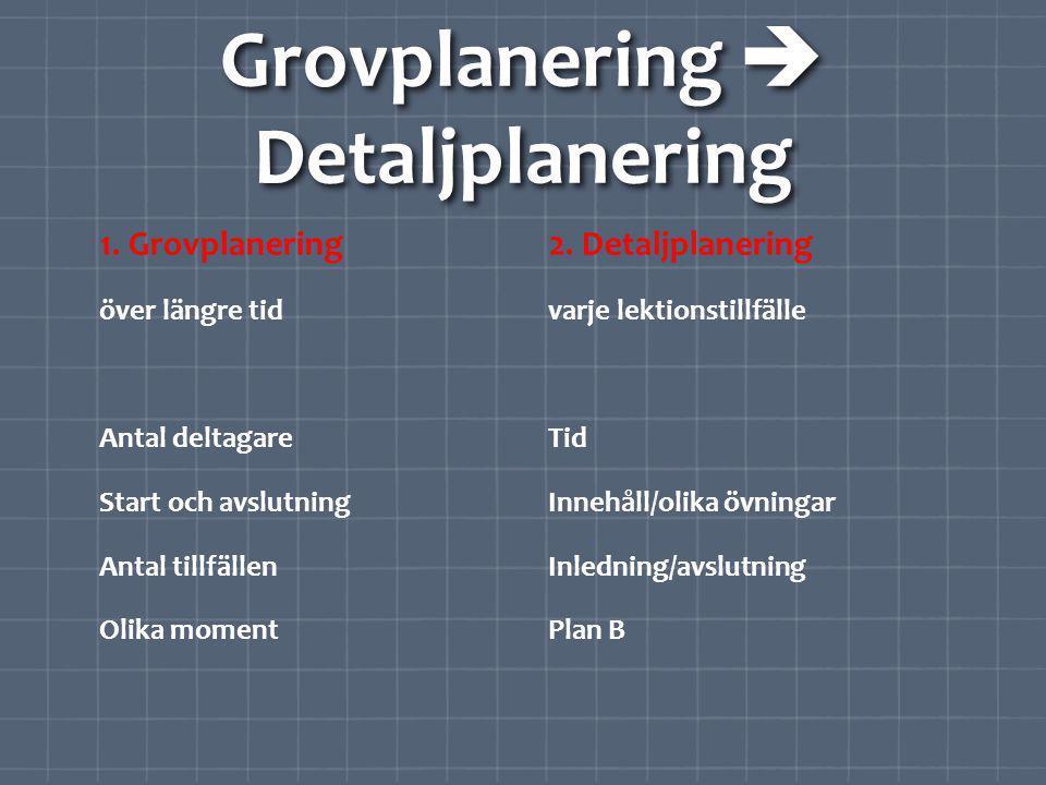 Grovplanering  Detaljplanering 1.