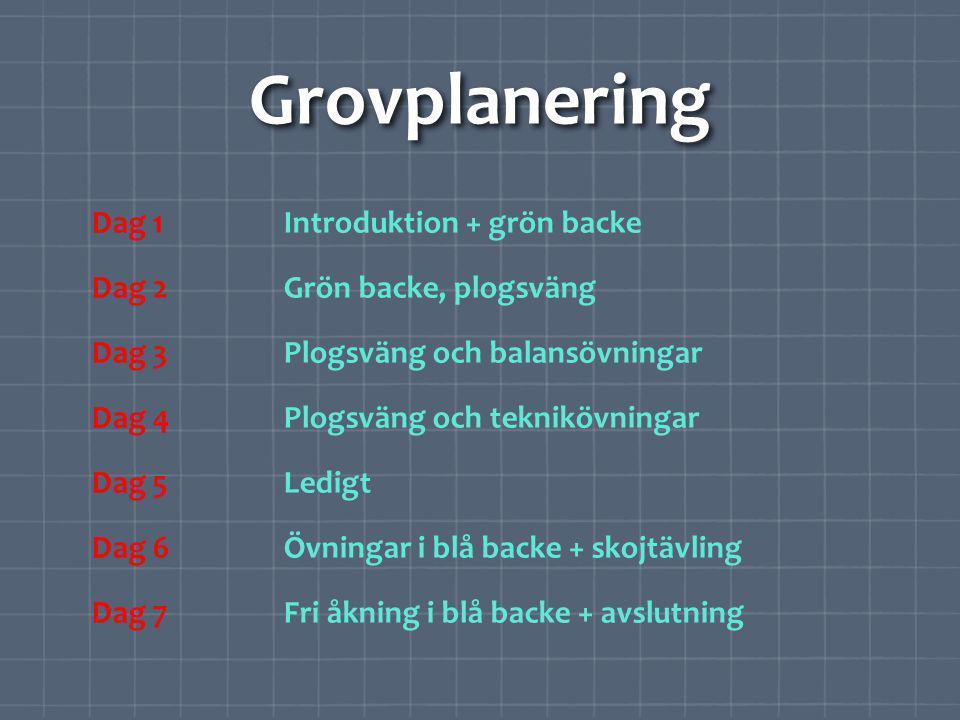 Detaljplanering TID: 10.00-11.00 PLATS: Gröna backen GRUPP: 12 elever INRIKTNING: Plogsvängar, teknikövningar MATERIAL: Käppar, ögonbindlar 1.