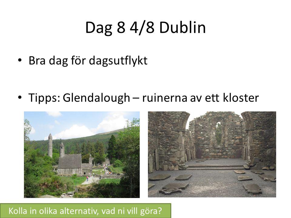 Dag 8 4/8 Dublin Bra dag för dagsutflykt Tipps: Glendalough – ruinerna av ett kloster Kolla in olika alternativ, vad ni vill göra?