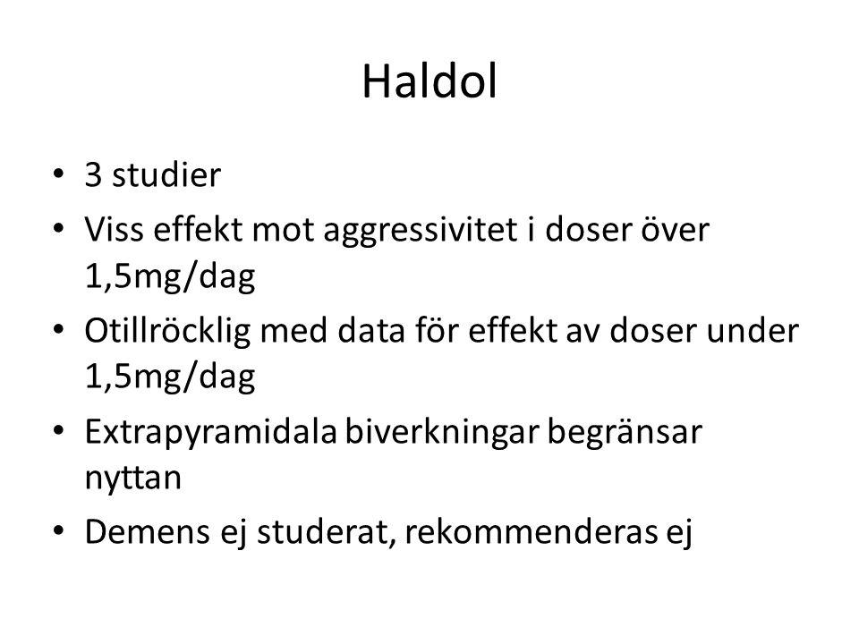 Haldol 3 studier Viss effekt mot aggressivitet i doser över 1,5mg/dag Otillröcklig med data för effekt av doser under 1,5mg/dag Extrapyramidala biverk