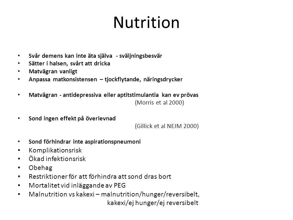 Nutrition Svår demens kan inte äta själva - sväljningsbesvär Sätter i halsen, svårt att dricka Matvägran vanligt Anpassa matkonsistensen – tjockflytan