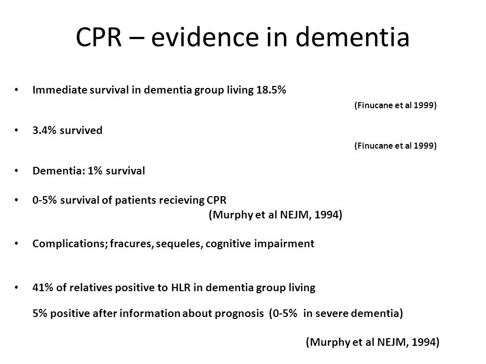 CPR – evidence in dementia Immediate survival in dementia group living 18.5% (Finucane et al 1999) 3.4% survived (Finucane et al 1999) Dementia: 1% su