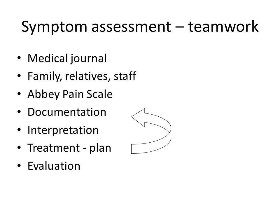 Symptom assessment – teamwork Medical journal Family, relatives, staff Abbey Pain Scale Documentation Interpretation Treatment - plan Evaluation
