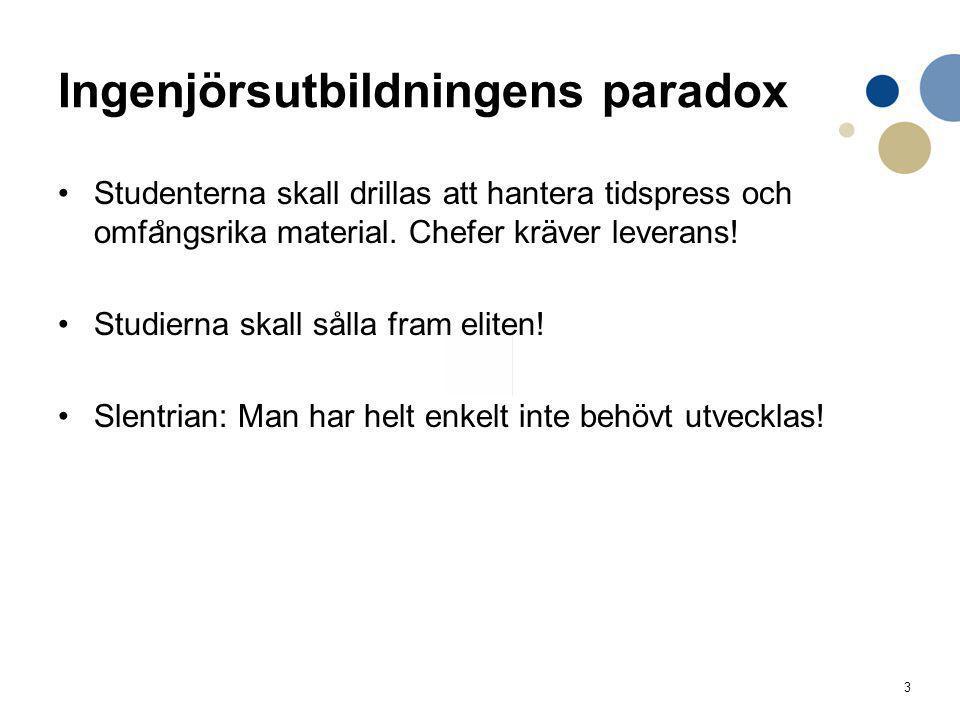 3 Ingenjörsutbildningens paradox Studenterna skall drillas att hantera tidspress och omfa ̊ ngsrika material. Chefer kräver leverans! Studierna skall