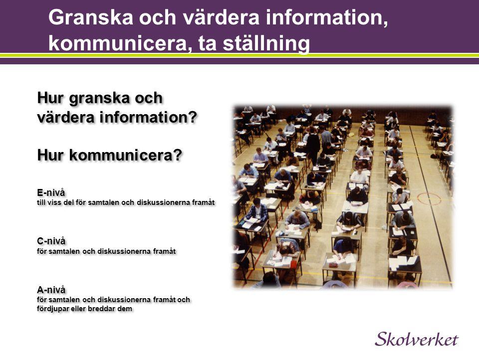 Granska och värdera information, kommunicera, ta ställning Hur granska och värdera information? Hur kommunicera? E-nivå till viss del för samtalen och
