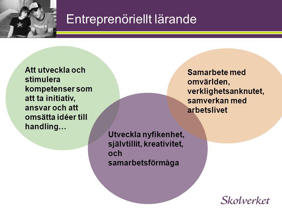 Entreprenöriellt lärande Att utveckla och stimulera kompetenser som att ta initiativ, ansvar och att omsätta idéer till handling… Utveckla nyfikenhet,