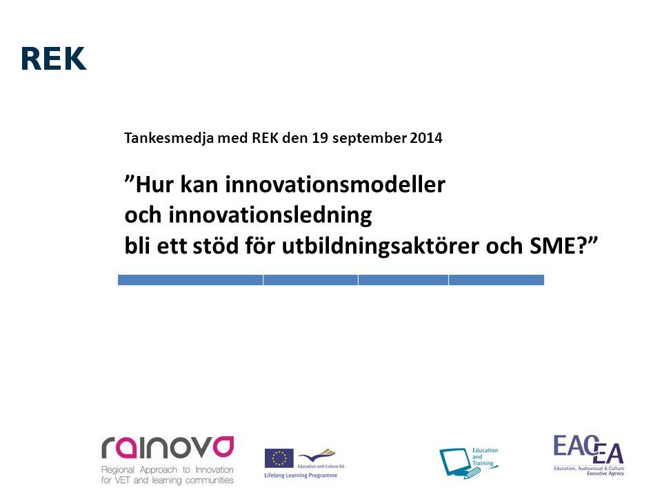 Agenda för rundabordssamtalet (09:30-12:30) Välkommen (Vinnova och Birgitta Ornbrant/REK) REK introducerar Rainova-projektet- en Innovationsmodell ur ett regionalt perspektiv med koppling mellan utbildning och SME (Christina Haggren, Torbjörn Skarin) Hur skapar man hållbara innovationsmodeller, livet efter projektet Rainova ( Kennet Lindkvist, STPKC) Kort om några intressanta projekt ( Kennet Lindkvist, STPKC) Samt gemensam diskussion under och mellan punkterna samt möjlighet till kortare presentationer/inlägg
