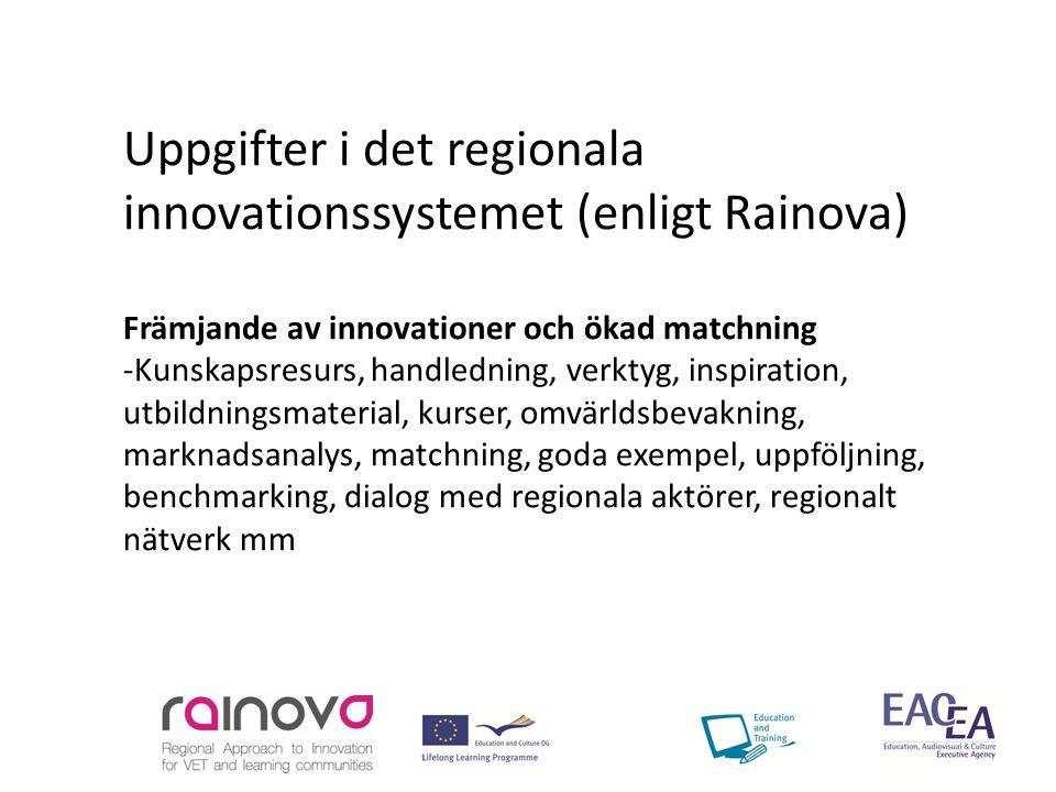 Uppgifter i det regionala innovationssystemet (enligt Rainova) Främjande av innovationer och ökad matchning -Kunskapsresurs, handledning, verktyg, inspiration, utbildningsmaterial, kurser, omvärldsbevakning, marknadsanalys, matchning, goda exempel, uppföljning, benchmarking, dialog med regionala aktörer, regionalt nätverk mm