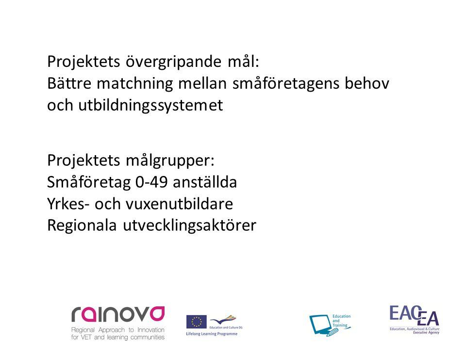Projektets målgrupper: Småföretag 0-49 anställda Yrkes- och vuxenutbildare Regionala utvecklingsaktörer Projektets övergripande mål: Bättre matchning mellan småföretagens behov och utbildningssystemet