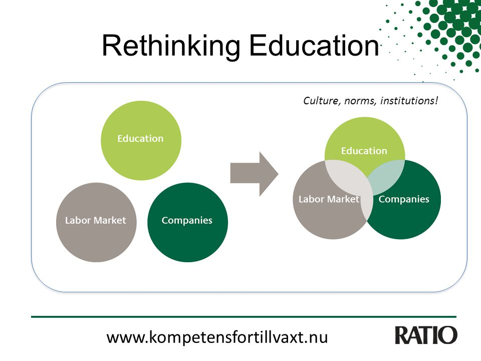 Rethinking Education www.kompetensfortillvaxt.nu Culture, norms, institutions!