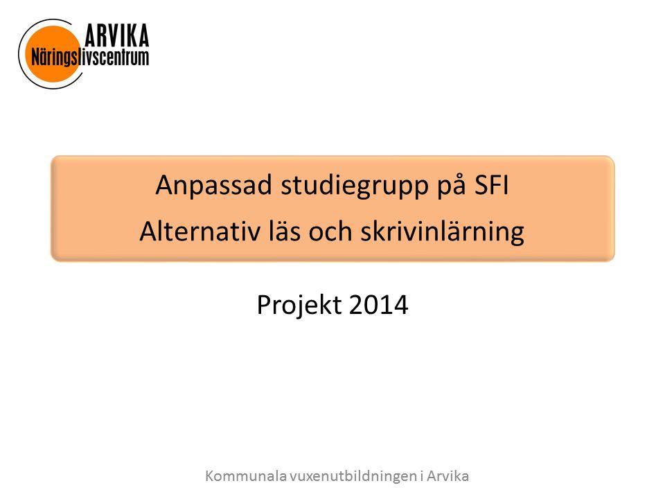 Bakgrund Skolverket har beviljat ett statsbidrag till SFI i Arvika för att utveckla en anpassad studiegrupp för elever på A, B och C nivå som har behov av särskilt stöd i sin språkundervisning.