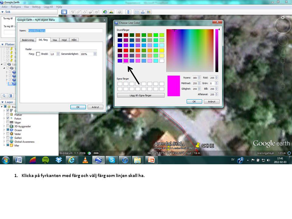 1.Klicka på fyrkanten med färg och välj färg som linjen skall ha.