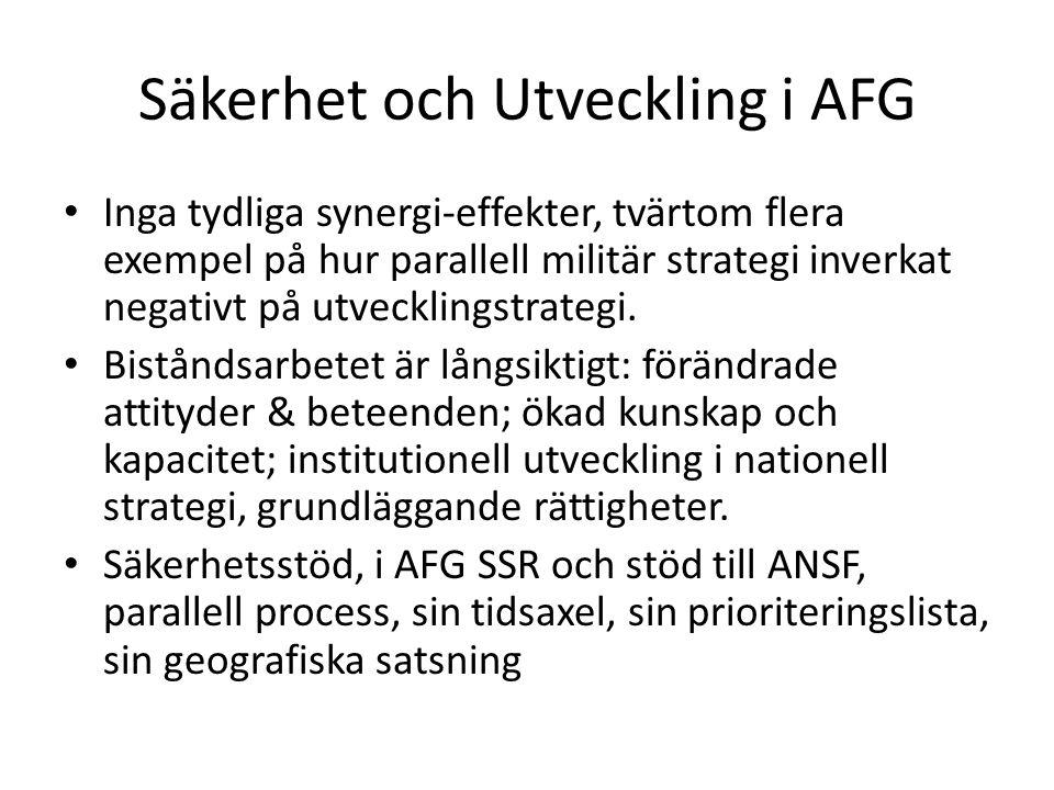 Säkerhet och Utveckling i AFG Inga tydliga synergi-effekter, tvärtom flera exempel på hur parallell militär strategi inverkat negativt på utvecklingstrategi.
