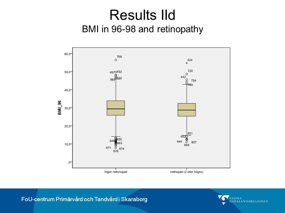 FoU-centrum Primärvård och Tandvård i Skaraborg Results IId BMI in 96-98 and retinopathy