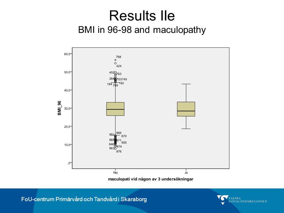 FoU-centrum Primärvård och Tandvård i Skaraborg Results IIe BMI in 96-98 and maculopathy