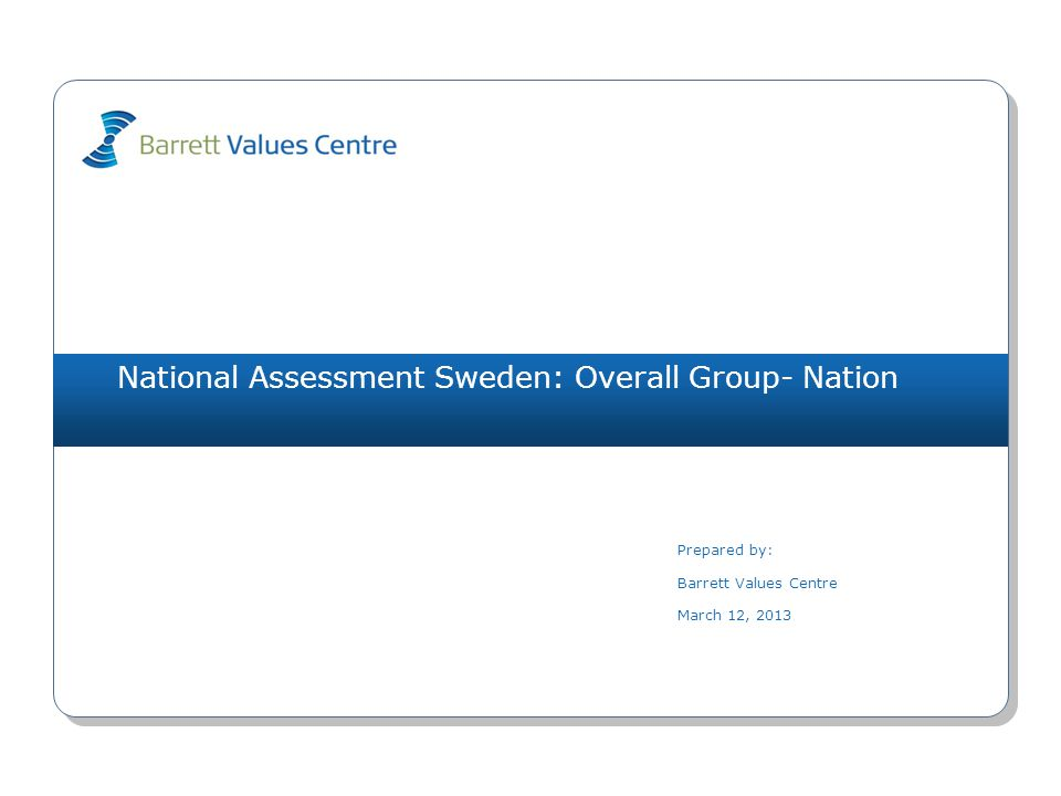 National Assessment Sweden: Overall Group- Nation (1001) unemployment (L) 5991(O) bureaucracy (L) 4573(O) uncertainty about the future (L) 4381(I) freedom of speech 3954(O) wasted resources (L) 3543(O) materialistic (L) 3381(I) blame (L) 3342(R) peace 3327(S) short-term focus (L) 3191(O) educational opportunities 2793(O) employment opportunities 6121(O) financial stability 4901(I) concern for future generations 4057(S) effective healthcare 3351(O) nature conservancy 3306(S) democratic process 2774(R) environmental awareness 2626(S) long-term perspective 2567(S) caring for the elderly 2534(S) equality 2394(R) Values PlotMarch 12, 2013 Copyright 2013 Barrett Values Centre I = Individual R = Relationship Black Underline = PV & CC Orange = PV, CC & DC Orange = CC & DC Blue = PV & DC P = Positive L = Potentially Limiting (white circle) O = Organisational S = Societal Matches PV - CC 0 CC - DC 0 PV - DC 0 Health Index (PL) PV-10-0 CC - 3-7 DC-10-0 humour/ fun 4705(I) family 4222(R) responsibility 3834(I) honesty 3575(I) accountability 3154(R) compassion 2907(R) positive attitude 2845(I) fairness 2795(R) adaptability 2574(I) independence 2284(I) LevelPersonal Values (PV)Current Culture Values (CC)Desired Culture Values (DC) 7 6 5 4 3 2 1 IRS (P)=6-4-0 IRS (L)=0-0-0IROS (P)=0-0-2-1 IROS (L)=2-1-4-0IROS (P)=1-2-2-5 IROS (L)=0-0-0-0