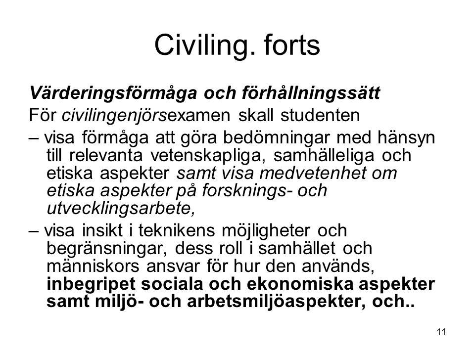 11 Civiling. forts Värderingsförmåga och förhållningssätt För civilingenjörsexamen skall studenten – visa förmåga att göra bedömningar med hänsyn till