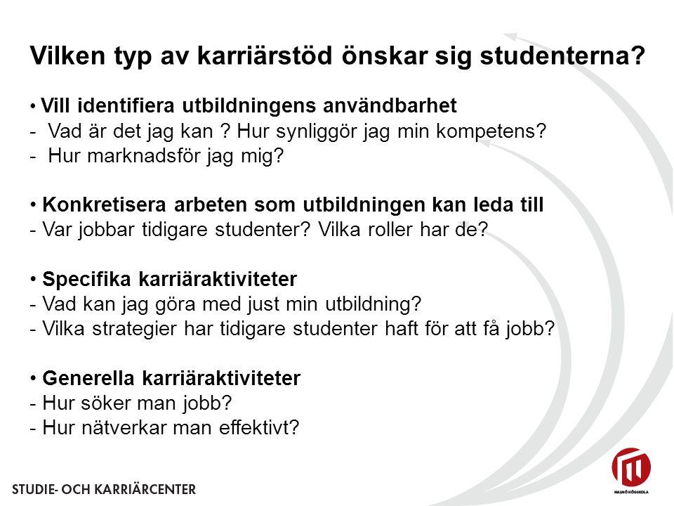 Vilken typ av karriärstöd önskar sig studenterna? Vill identifiera utbildningens användbarhet - Vad är det jag kan ? Hur synliggör jag min kompetens?