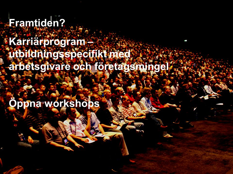 Framtiden? Karriärprogram – utbildningsspecifikt med arbetsgivare och företagsmingel Öppna workshops