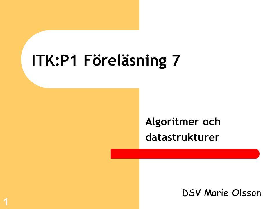 1 ITK:P1 Föreläsning 7 Algoritmer och datastrukturer DSV Marie Olsson