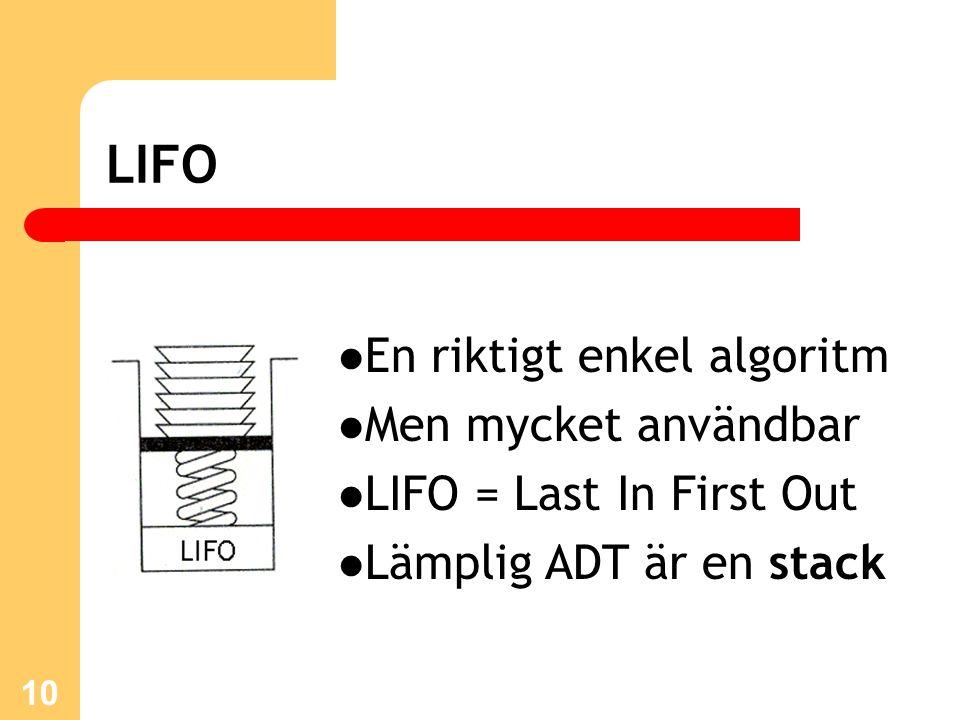 10 LIFO En riktigt enkel algoritm Men mycket användbar LIFO = Last In First Out Lämplig ADT är en stack