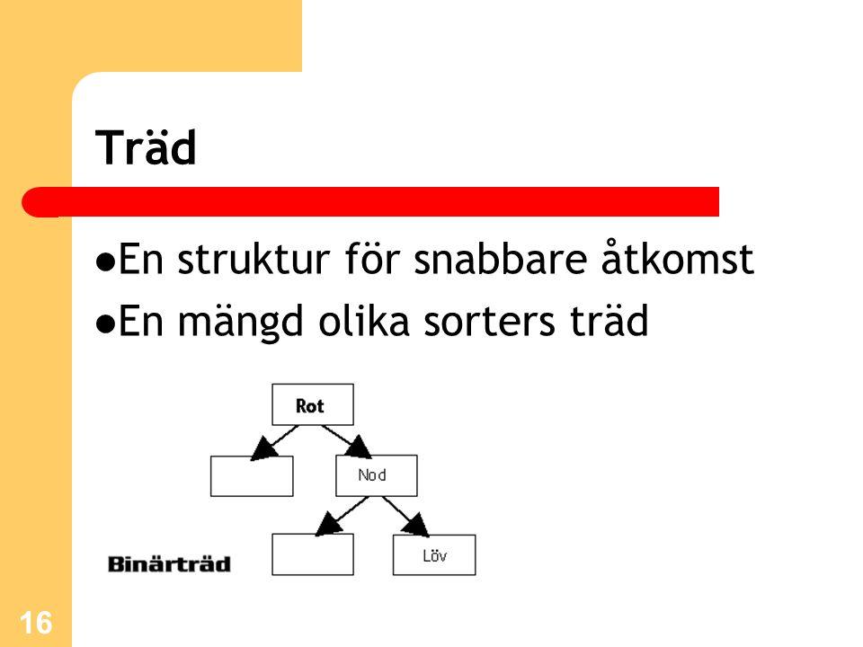 16 Träd En struktur för snabbare åtkomst En mängd olika sorters träd