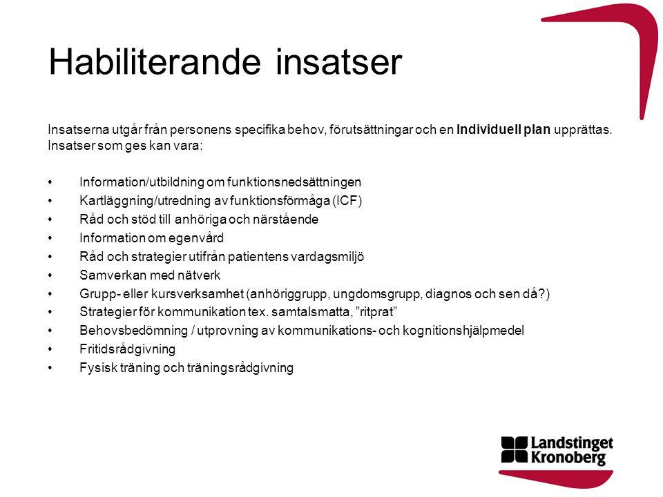 Habiliterande insatser Insatserna utgår från personens specifika behov, förutsättningar och en Individuell plan upprättas. Insatser som ges kan vara: