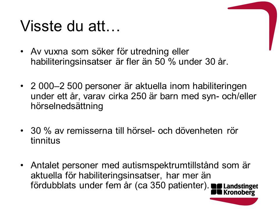 Visste du att… Av vuxna som söker för utredning eller habiliteringsinsatser är fler än 50 % under 30 år. 2 000–2 500 personer är aktuella inom habilit