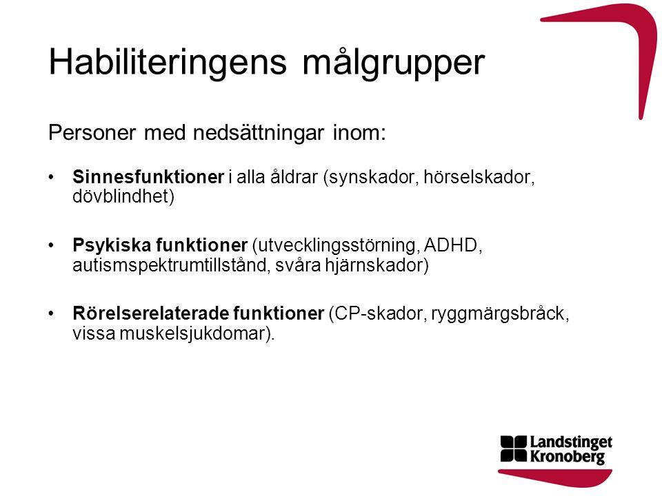 Habiliteringens målgrupper Personer med nedsättningar inom: Sinnesfunktioner i alla åldrar (synskador, hörselskador, dövblindhet) Psykiska funktioner