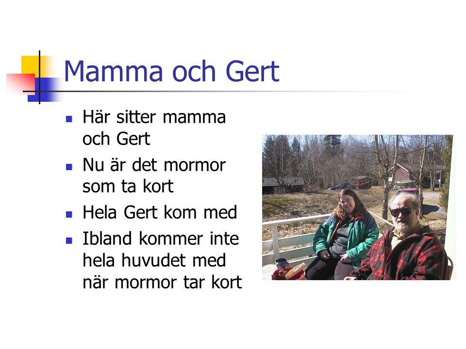 Mamma och Gert Här sitter mamma och Gert Nu är det mormor som ta kort Hela Gert kom med Ibland kommer inte hela huvudet med när mormor tar kort