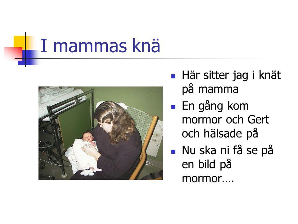 I mammas knä Här sitter jag i knät på mamma En gång kom mormor och Gert och hälsade på Nu ska ni få se på en bild på mormor….