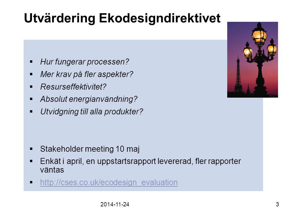 Utvärdering Ekodesigndirektivet  Hur fungerar processen.