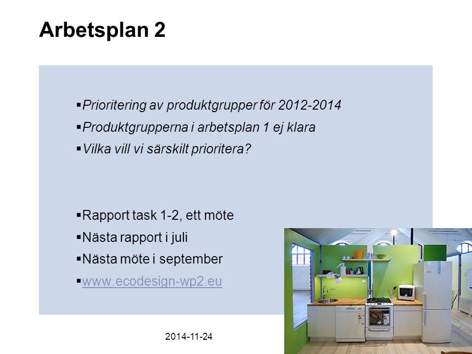 Arbetsplan 2  Prioritering av produktgrupper för 2012-2014  Produktgrupperna i arbetsplan 1 ej klara  Vilka vill vi särskilt prioritera.